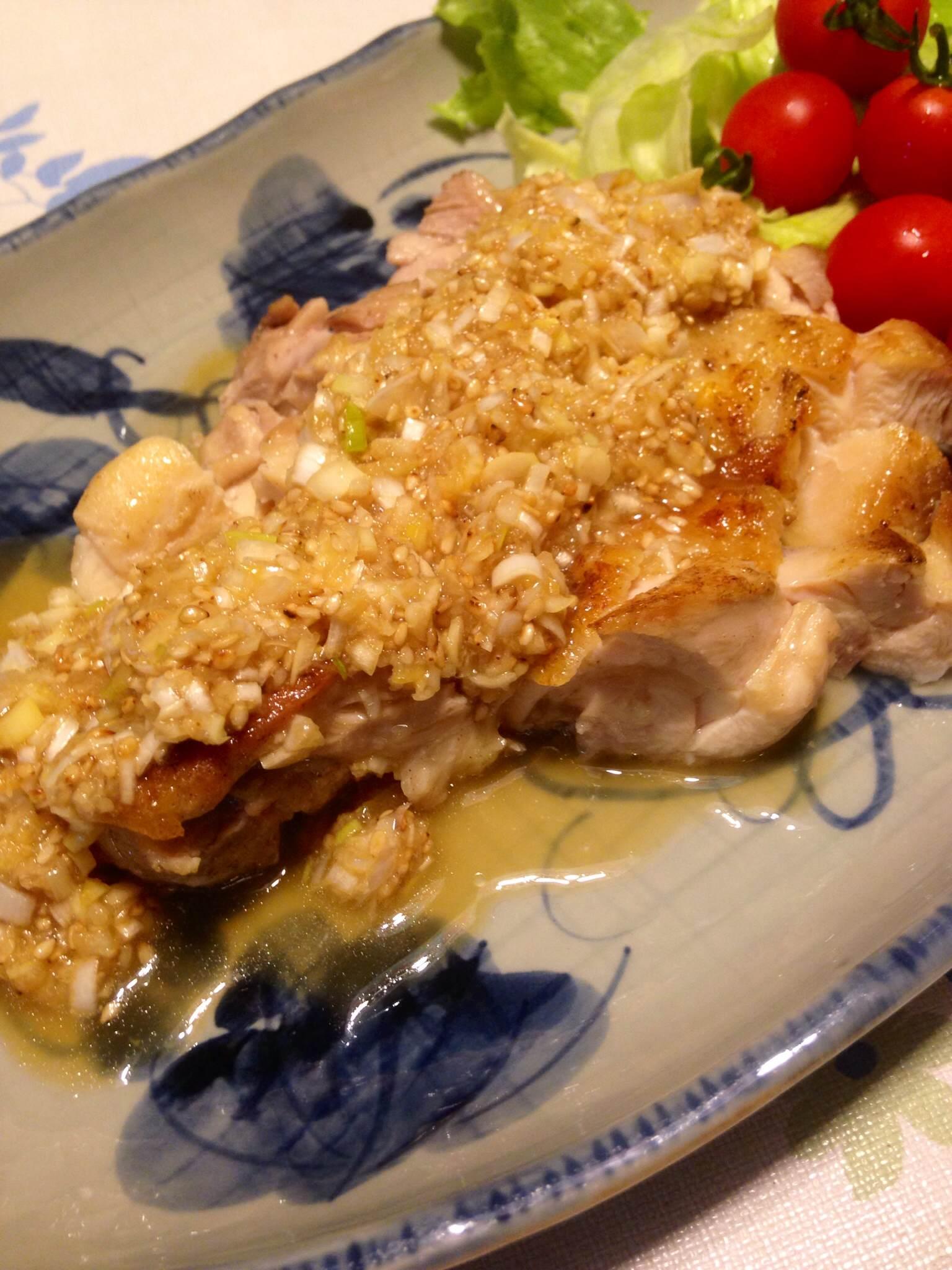 塩レモンネギダレで鶏ソテー